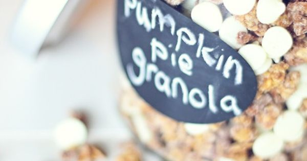 Pumpkin pie granola recipe. Some of the ingredients include canned pumpkin, apple