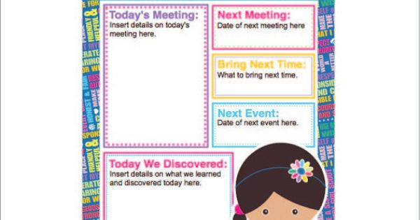 girl scout calendar template - daisy girl scout agenda meeting handout printable