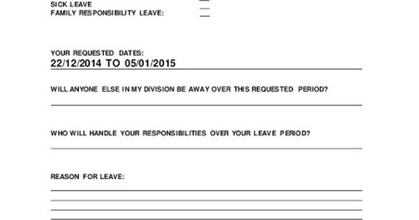 Leave Request Form Project Management Pinterest Project - leave request form