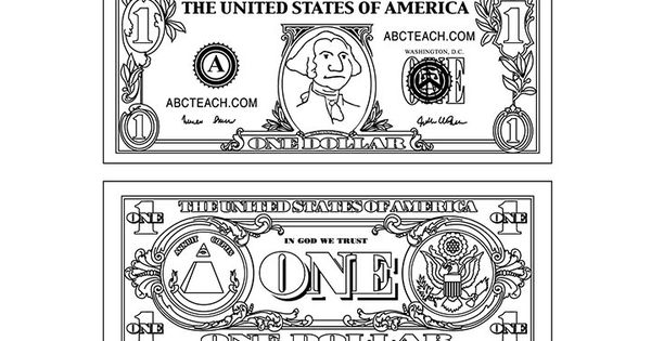 1 dollar 720 450 pixels coloring pages pinterest for One dollar bill coloring page