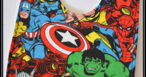 Avengers Cartoon Cotton Bib with White Terry Cloth - Geek-a-bye Baby --