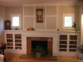 Classic Craftsman Fireplace Mantel With Side Cabinets Want Want Want And I D Toss That Cl Craftsman Fireplace Fireplace Built Ins Craftsman Fireplace Mantels