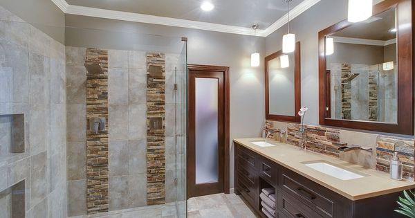 Contemporary master bathroom with double sink inset cabinets flush - Contemporary Master Bathroom With Daltile Stacked Stone