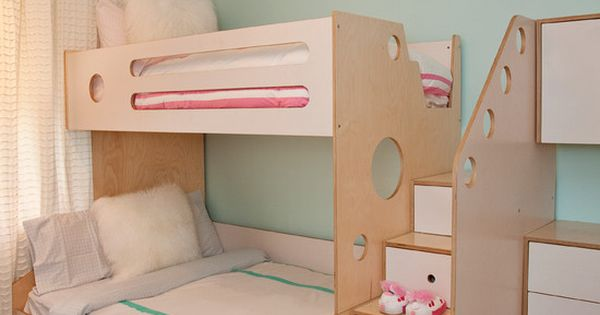 kinderzimmerm bel aus sperrholz furnier etagenbett mit treppen schubladen kids pinterest. Black Bedroom Furniture Sets. Home Design Ideas