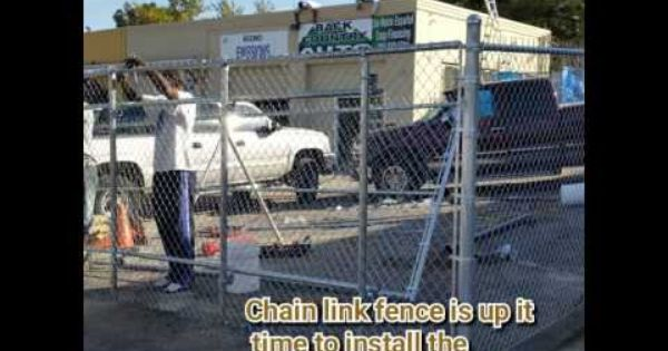 Industrial Chain Link Fence And Slide Gate Denver Youtube Chain Link Fence Concrete Posts Fence