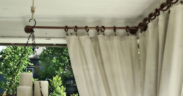 Cheapo porch curtain ideas----to use with my painters' drop cloth curtains. Our
