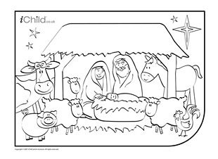 Nativity Christmas Colouring In Picture Christmas Cards Kids Free Printable Christmas Cards Personalised Christmas Cards
