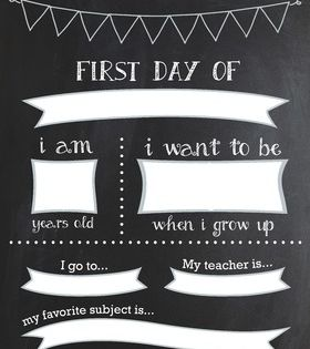 Reusable First Day of School Framed Chalkboard