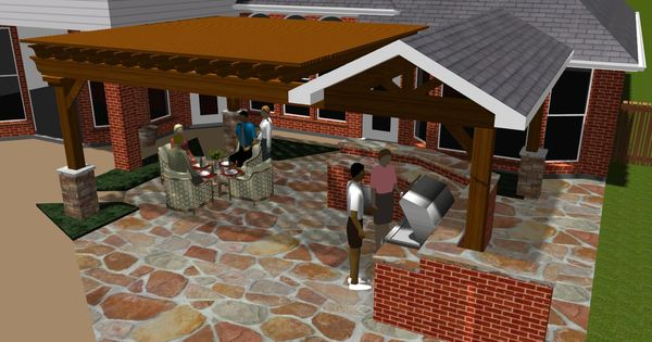 Covered patios design rendering in colleyville tx Flagstone patios colleyville tx