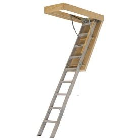 Louisville Pinnacle 8 Ft To 10 Ft Type Iaa Aluminum Attic Ladder Aee25 Attic Ladder Attic Flooring Attic Rooms