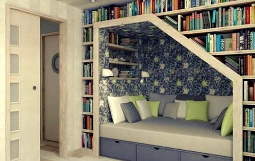 What a great way to use wasted space. I love built-in bookshelves