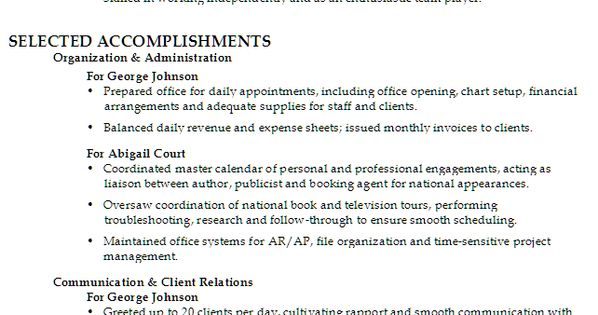 Sample Function Resume For An Administrative Assistant With Focus On Client Relations/ Customer