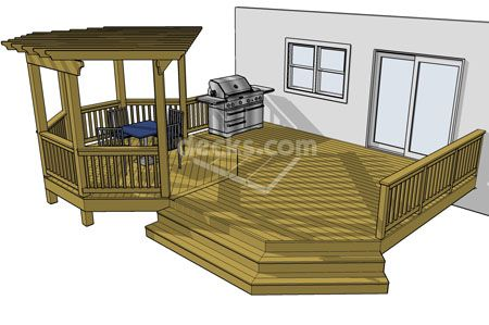 Very Cool 354 Sf Deck With 12x12 Overhead Pergola Perfect For Entertaining Guests 24 Different Sizes You Can Download Fo Free Deck Plans Diy Deck Deck Design