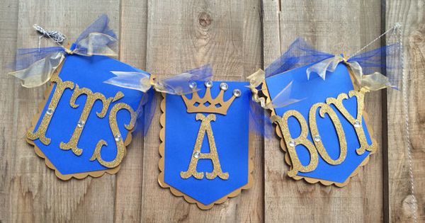 It's a boy banner royal prince flag banner in royal by glittermama