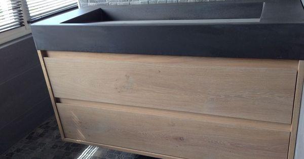Betonnen wasbak oxford met eiken wasmeubel custommade concrete sink with oak cabinet drawers - Water badkamer model ...
