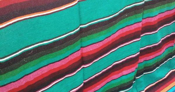 Frida >> turquoise mexican blanket 100 cotton by ...