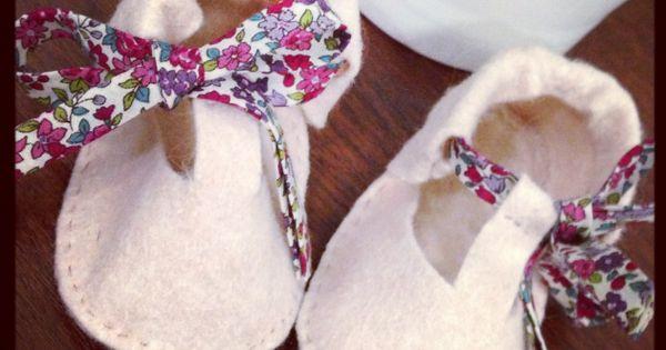 Tuto chaussons en feutrine couture enfant b b - Tuto chausson bebe couture ...