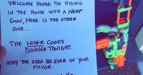 Couple nerf war! Cute idea for husband and wife fun