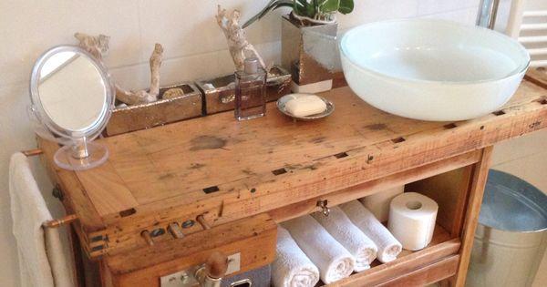 Waschtisch aus einer hobelbank bad pinterest - Hobelbank wohnzimmer ...