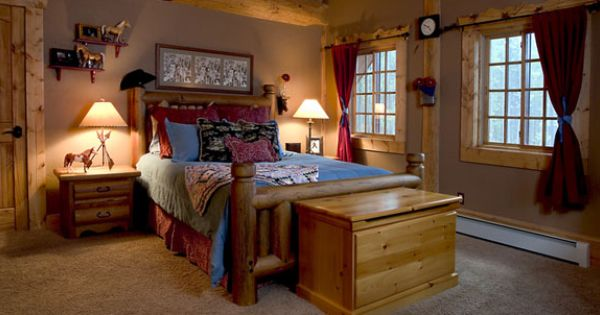 Log home western bedroom a western themed little girls for Cowgirl themed bedroom ideas