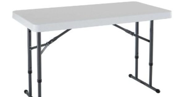 A Flat Surface Amazon Com Lifetime 80161 4 Foot Commercial Adjustable Height Folding Table Almond Tabl Adjustable Height Table White Granite Folding Table