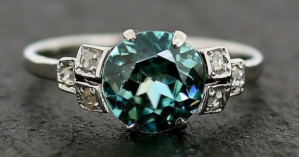 Art Deco Ring Blue Zircon & Diamond Antique via this Etsy Store,