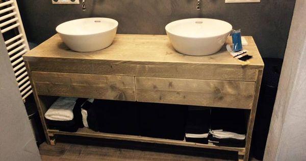 Badkamermeubel van steigerhout met 2 lades en schap 51220131130 badkamermeubels jorg s - Badkamers bassin italiaanse design ...