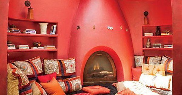 Colorful cob meditation room
