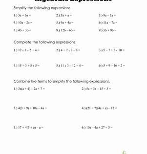 Algebraic Expressions Worksheet Education Com Math Expressions Algebra Worksheets Algebraic Expressions