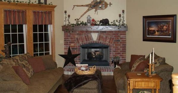 Corner rock fireplaces with mantles classic red brick - Rockabilly mantel ...