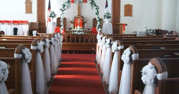 Unique Church Wedding Decoration Ideas: Reception Hall Decorated With Tulle
