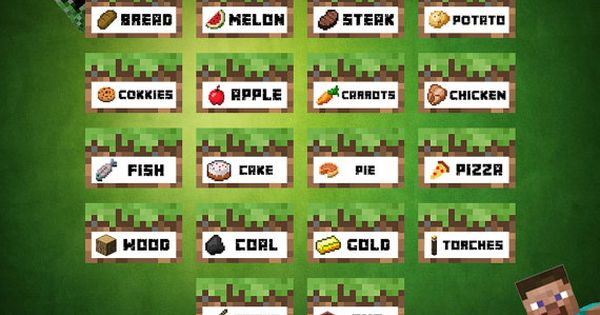 Minecraft Food Tent Cards Labels Printable by wazzupershop ...