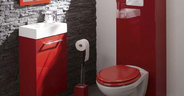Wc Suspendus Mur Briques Gris Et Touches De Rouge Id Es