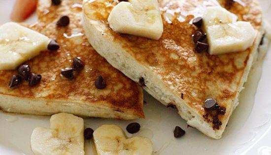 Heart-Shaped Chocolate Chip Banana Pancakes | Chocolate ...