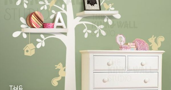 Kid room decor....Shelving Tree with Birds & Squirrels - vinyl wall sticker
