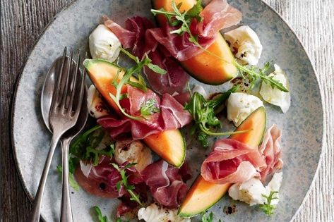 Parma and melon salad Melon, sliced Parma ham Rocket salad Mozzarella cheese
