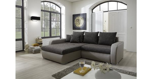 eckcouch norah mit bettfunktion und bettkasten sofa bed wohnzimmer living room. Black Bedroom Furniture Sets. Home Design Ideas