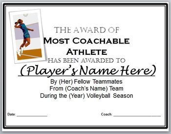 Volleyball Awards Certificates 9 Diffferent Awards And Nomination Ballots Volleyball Award Certificates Player Award