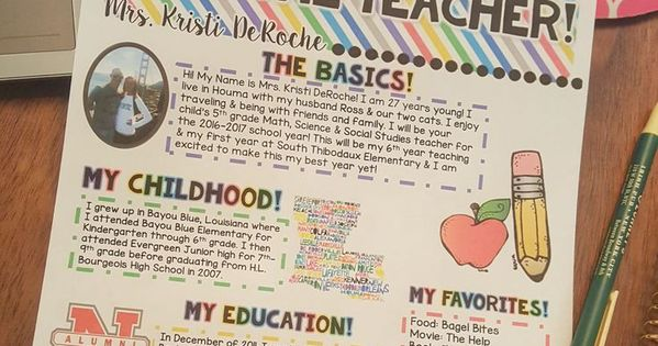 Meet the teacher newsletter editable bright stripes for Meet the teacher brochure template