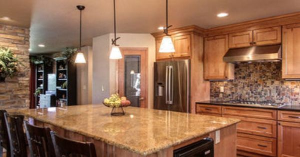 Light Knotty Alder Cabinets With Granite Countertop Google