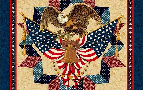 Fabric Marcus Brothers American Valor Eagle Patriotic