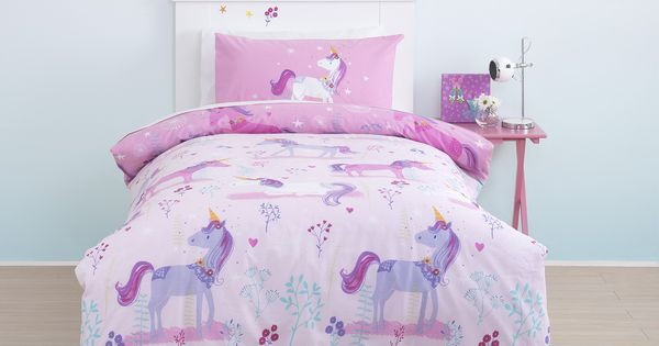 cute cute cute magical unicorn toddler cot bed duvet bedding set shop now play learn grow. Black Bedroom Furniture Sets. Home Design Ideas