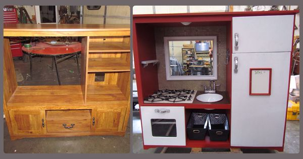 Entertainment center turned play kitchen children 39 s for How to reuse an entertainment center