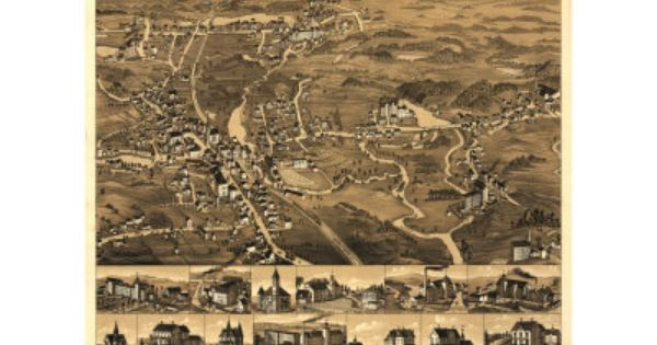 Eureka California 1902 Historic Panoramic Town Map 16x24