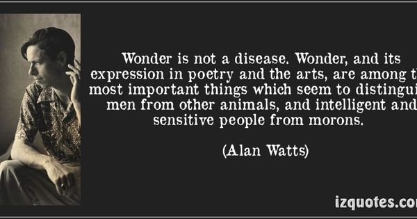 Wonder Is Not A Disease... - Alan Watts