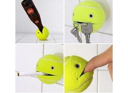 DIY Tennis Ball Holder! Very cute idea to hold many things.....Keys for