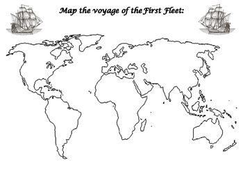 First Fleet Mapping World Map Printable World Map Stencil