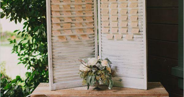 cute escort card display | rustic wedding details | kraft paper escort
