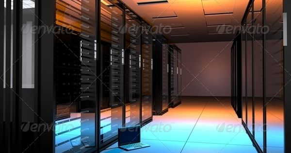 Servers Room with small laptop on the floor