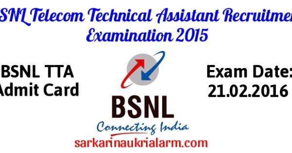 Bsnl Tta Admit Card 2016 Download Bsnl Tta Je Hall Ticket